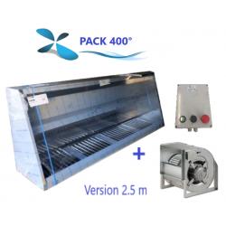 Pack 400° Hotte 2.5 m à 3 m + Moteur + Variateur